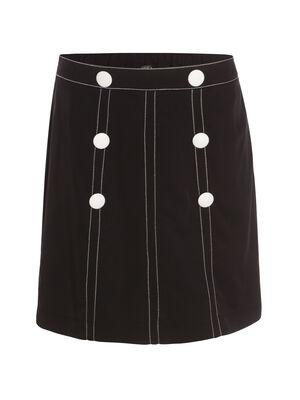 Jupe noir avec bouton noir femme