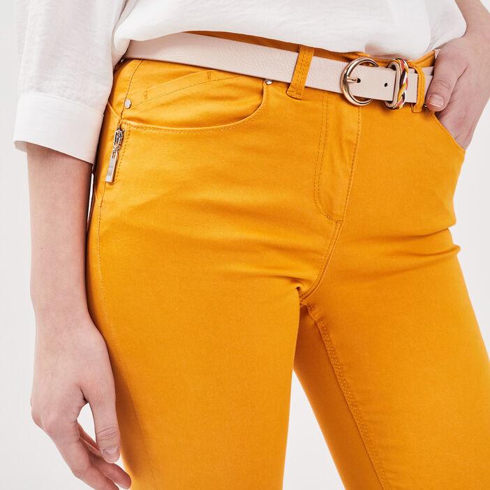 Pantalon 7/8 satin jaune or femme
