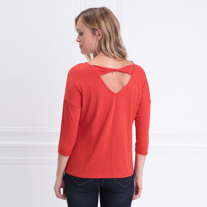 T-shirt manches 3/4 col rond rouge corail femme