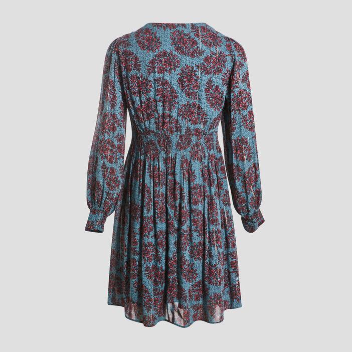 Robe évasée taille smockée bleu clair femme