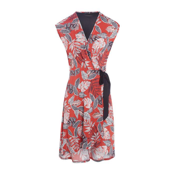 Robe midi portefeuille terracotta femme