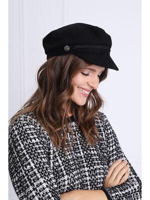 Casquette style marin noir femme
