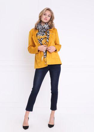 Veste courte en suedine jaune or femme