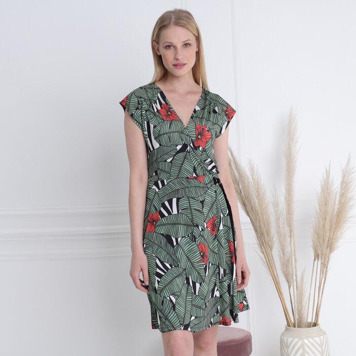 Robe cintrée col en V vert femme