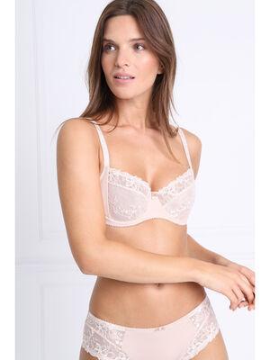 Culotte dentelle et microfibre beige femme