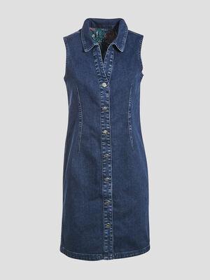 Robe droite reversible en jean denim stone femme