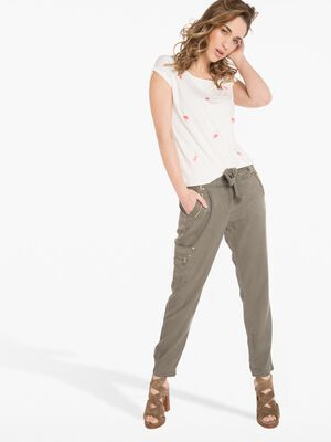 Pantalon 78eme fluide vert fonce femme