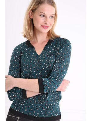 T shirt col V imprime avec bord cote vert femme