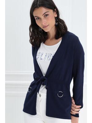 Gilet manches longues noue bleu marine femme