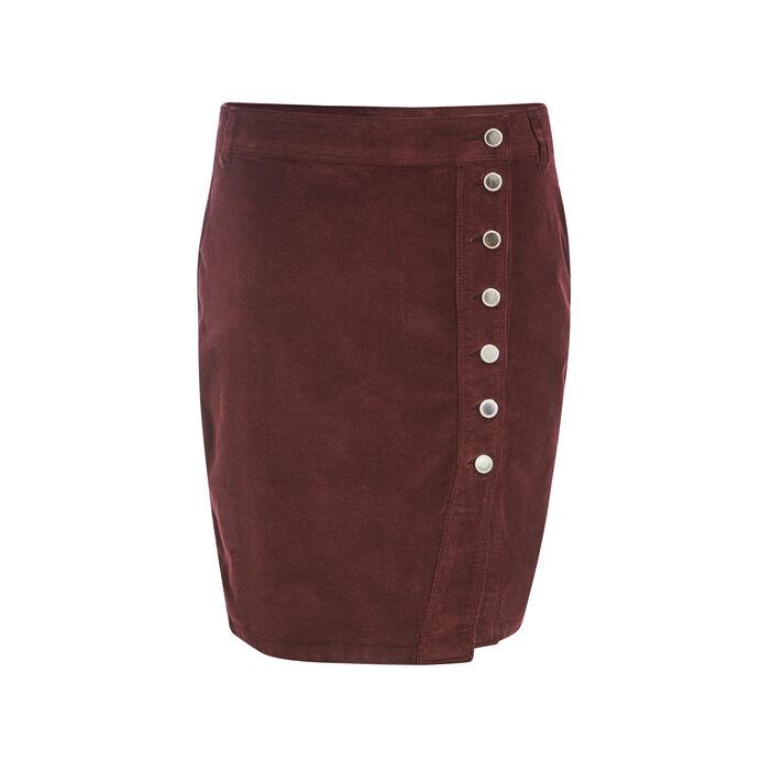 Jupe portefeuille velours violet foncé femme