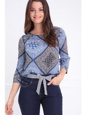 Chemise col rond details clous bleu femme