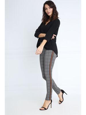 Pantalon taille standard bandes marron fonce femme