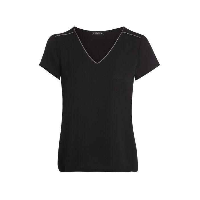 T-shirt manches courtes détails épaules noir femme