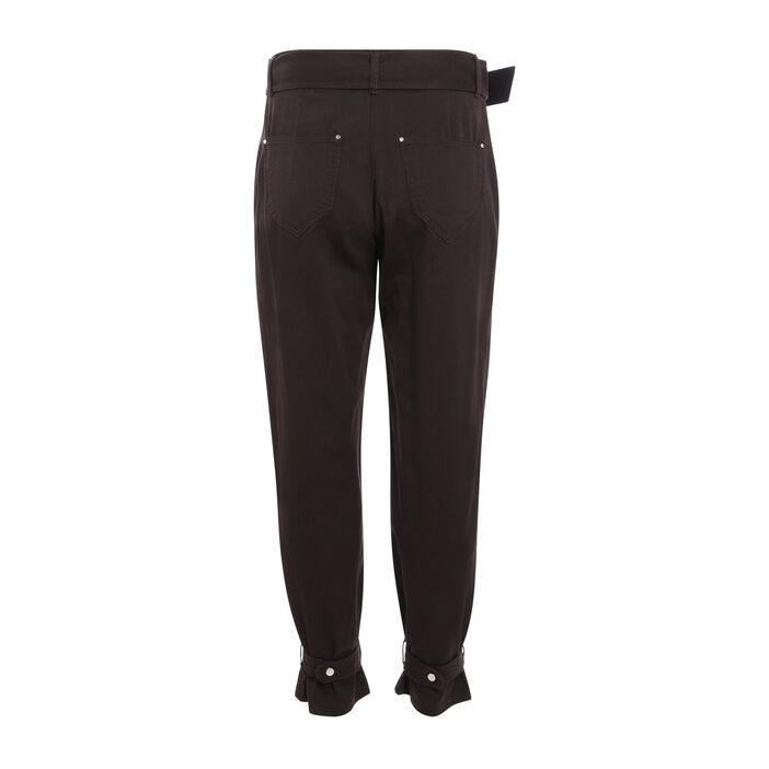 Pantalon cargo taille standard marron foncé femme