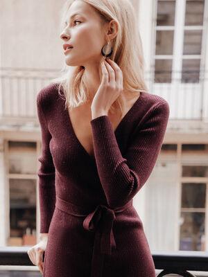 Robe pull ajustee ceinturee violet fonce femme