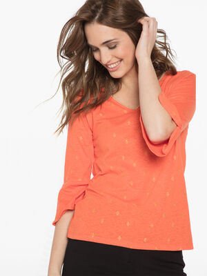 T shirt manches 34 orange femme