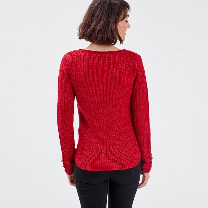 Pull manches longues rouge foncé femme