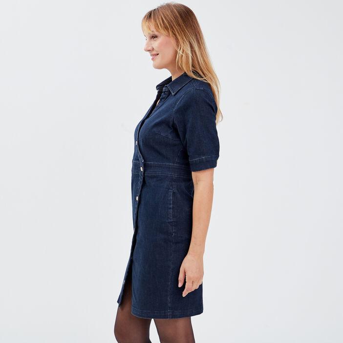 Robe portefeuille en jean denim brut femme
