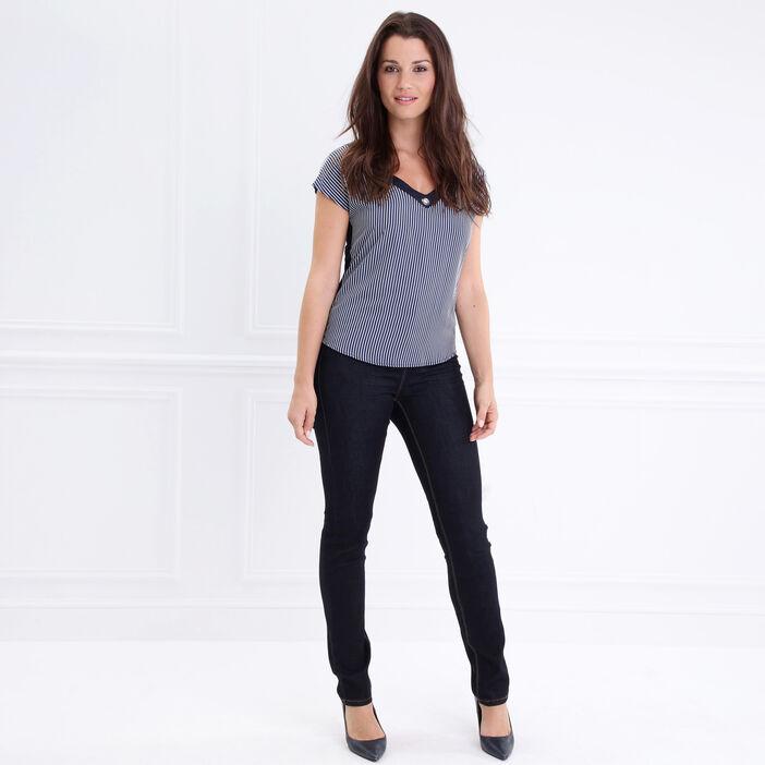 T-shirt col V à oeillets lacé dos bleu foncé femme