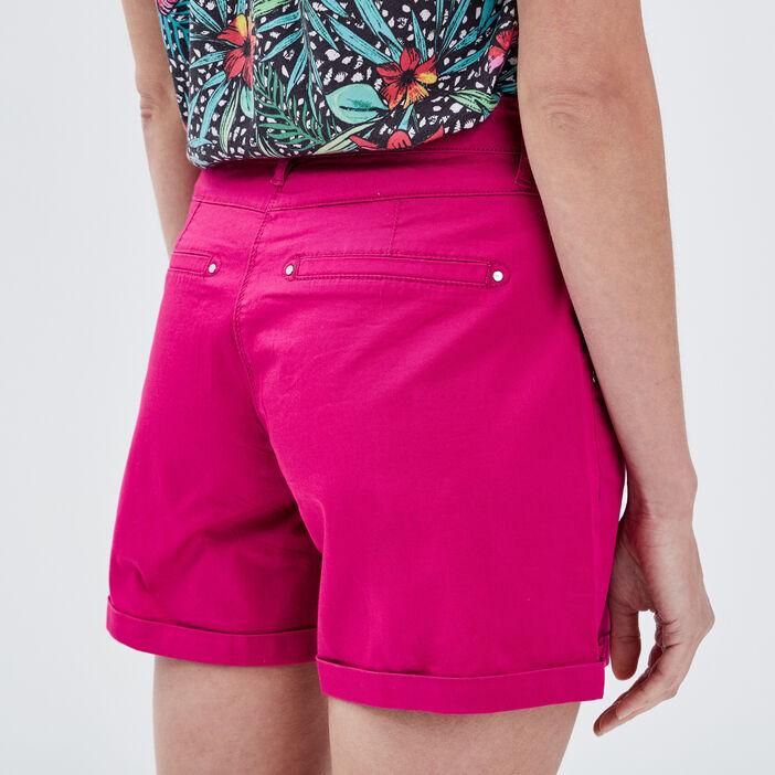 Short droit taille standard rose fushia femme