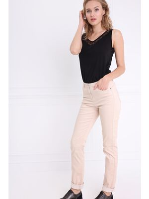 Pantalon ajuste push up beige femme
