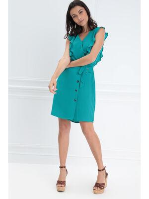 Robe portefeuille boutonnee vert turquoise femme