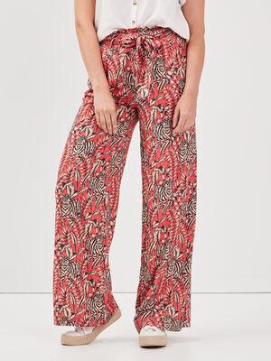 Pantalon large taille haute rose vif femme