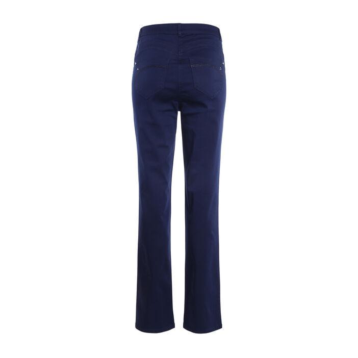 Pantalon droit taille haute bleu foncé femme
