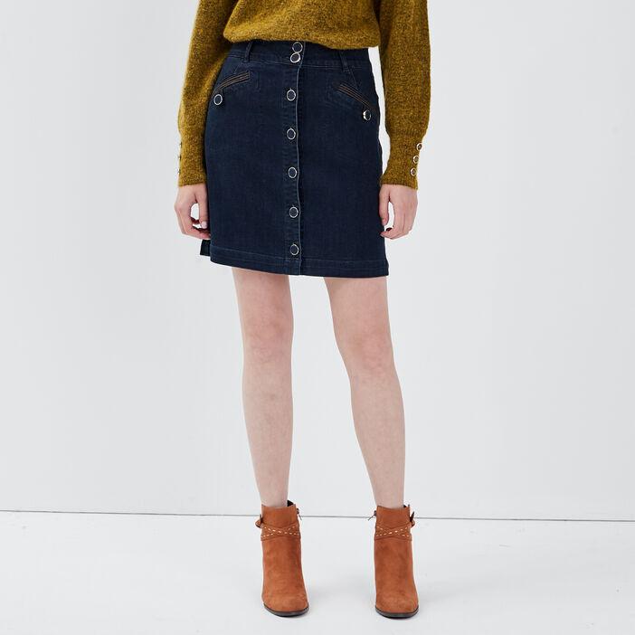 Jupe en jean boutonnée denim brut femme