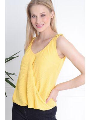 Chemisier sans manche oeillets metal jaune femme