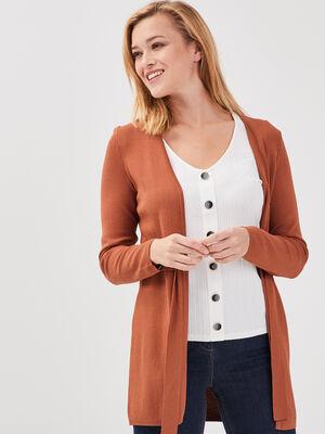 Gilet manches longues ceinture marron cognac femme