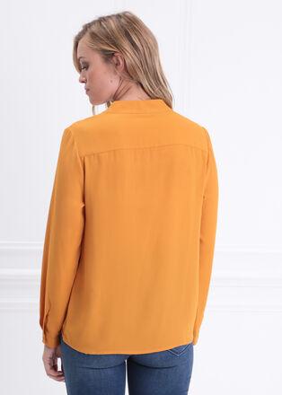 Blouse manches longues jaune moutarde femme