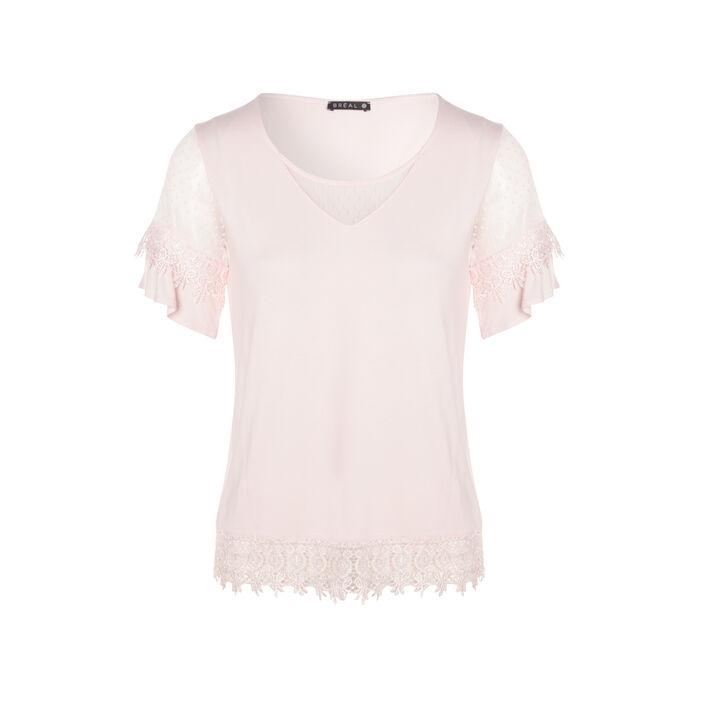 T-shirt uni avec macramé et plumetis vieux rose femme