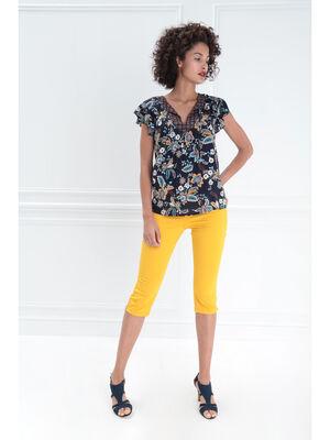 Pantacourt droit fantaisie jaune moutarde femme