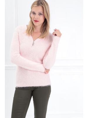 Pull manches longues zippe rose clair femme
