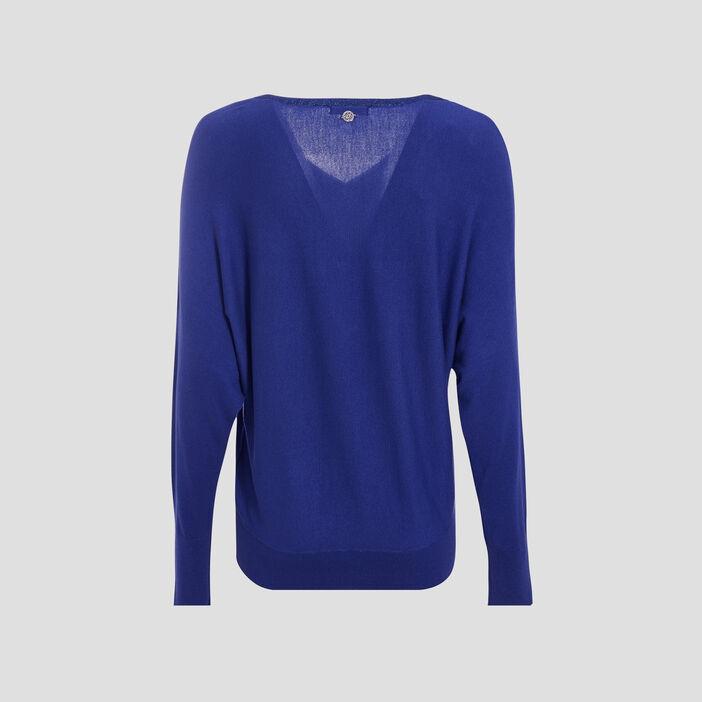 Pull manches longues bleu violet femme