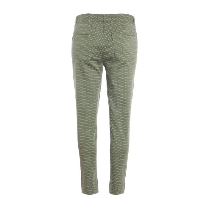 Pantalon imprimé à pois vert kaki femme
