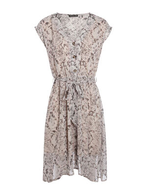 af7b55754ed Robe longue imprimee python blanc femme