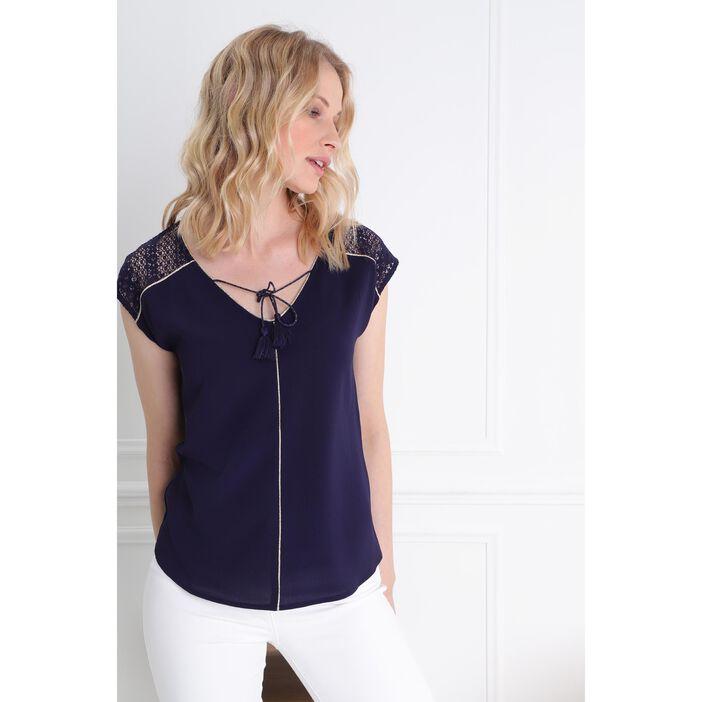 T-shirt manches courte bimatière bleu femme