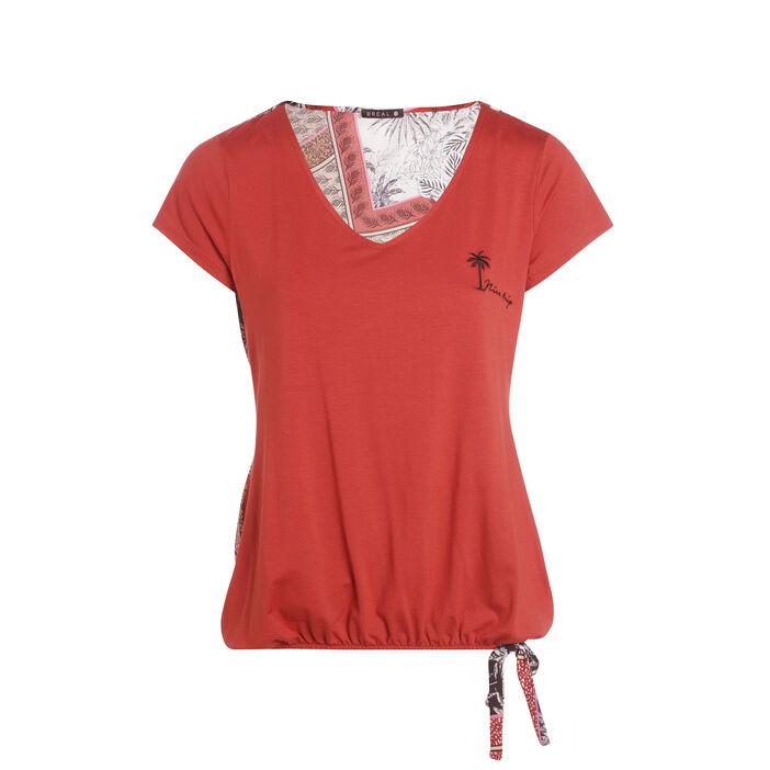 T-shirt manches courtes col V orange foncé femme