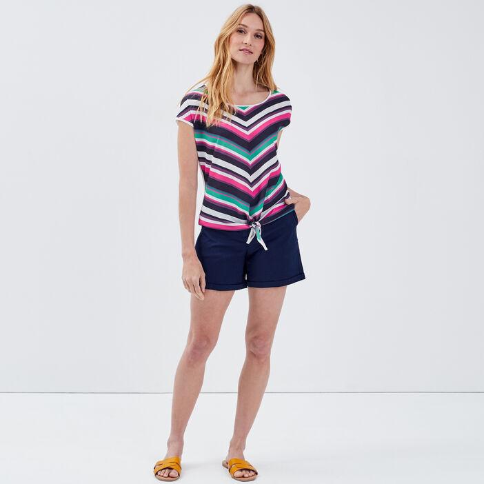 Short droit taille haute bleu marine femme
