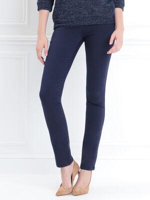 Pantalon ajuste detail zip bleu marine femme