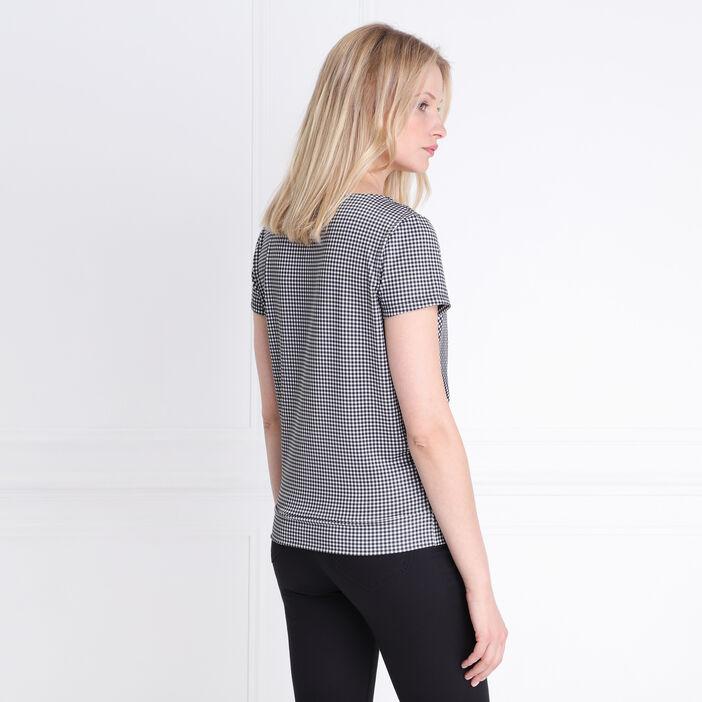 T-shirt manche courte vichy cache coeur ecru femme
