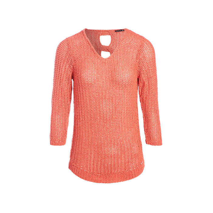 Pull manches 3/4 ajouré irisé orange corail femme
