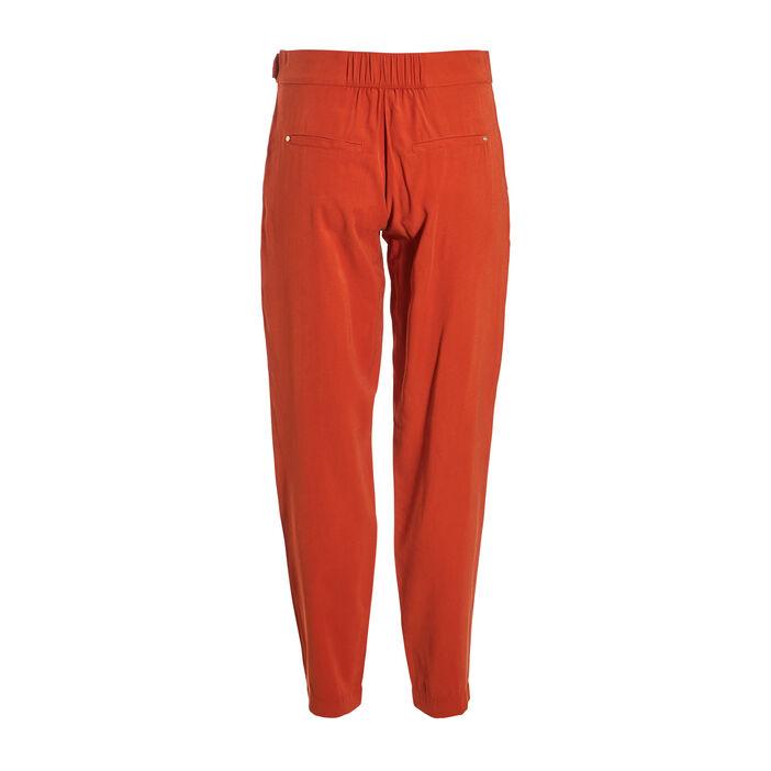 Pantalon fluide détail taille orange foncé femme