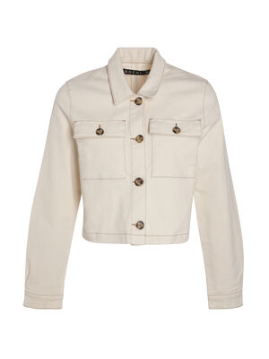 Veste cintree courte2 poches creme femme