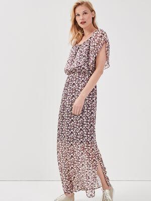 Robe longue evasee prune femme