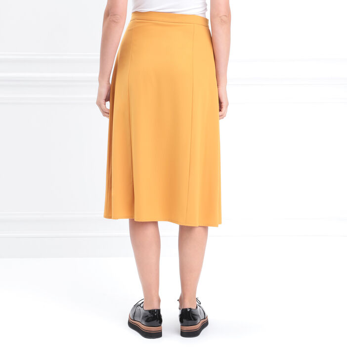Jupe midi portefeuille boutons jaune or femme