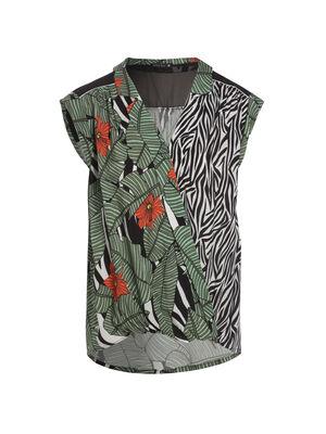 T shirt sans manches imprime vert femme