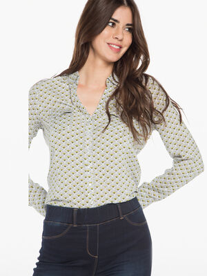 Chemise imprimee boutonnee blanc femme